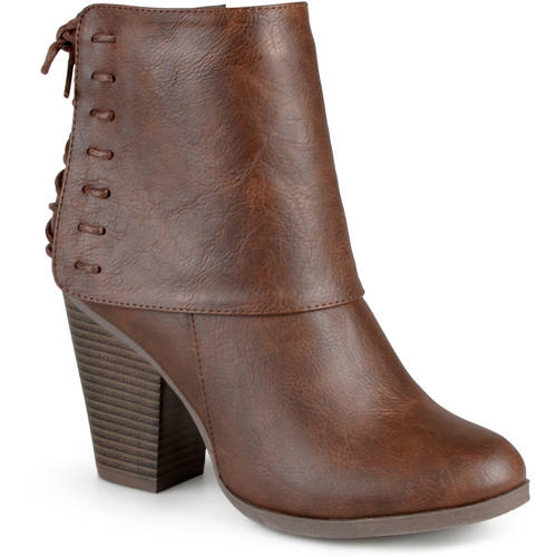 Brinley Co. Womens High Heel Corset Lace Chunky Heel Ankle Boots