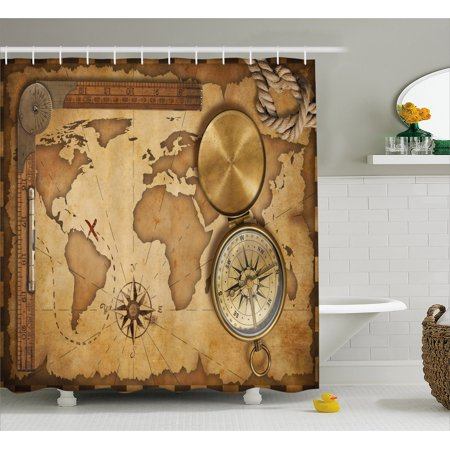 Map Shower Curtain, Aged Vintage Treasure Map Ruler Rope Old Compass Antique Adventure Discovery, Fabric Bathroom Set with Hooks, 69W X 70L Inches, Brown Pale Brown, by Ambesonne ()