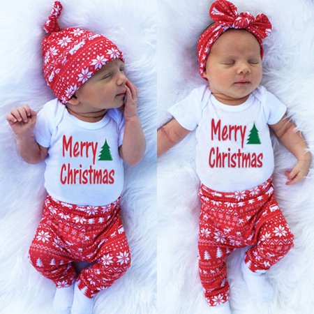 Christmas Outfits.Xmas Newborn Baby Boy Girl Romper Long Pants Leggings Christmas Outfits Clothes