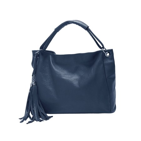 Woman Fringed Detail PU Leather Tote Slouch Hobo Bag Royal Blue - Royal Blue Bag