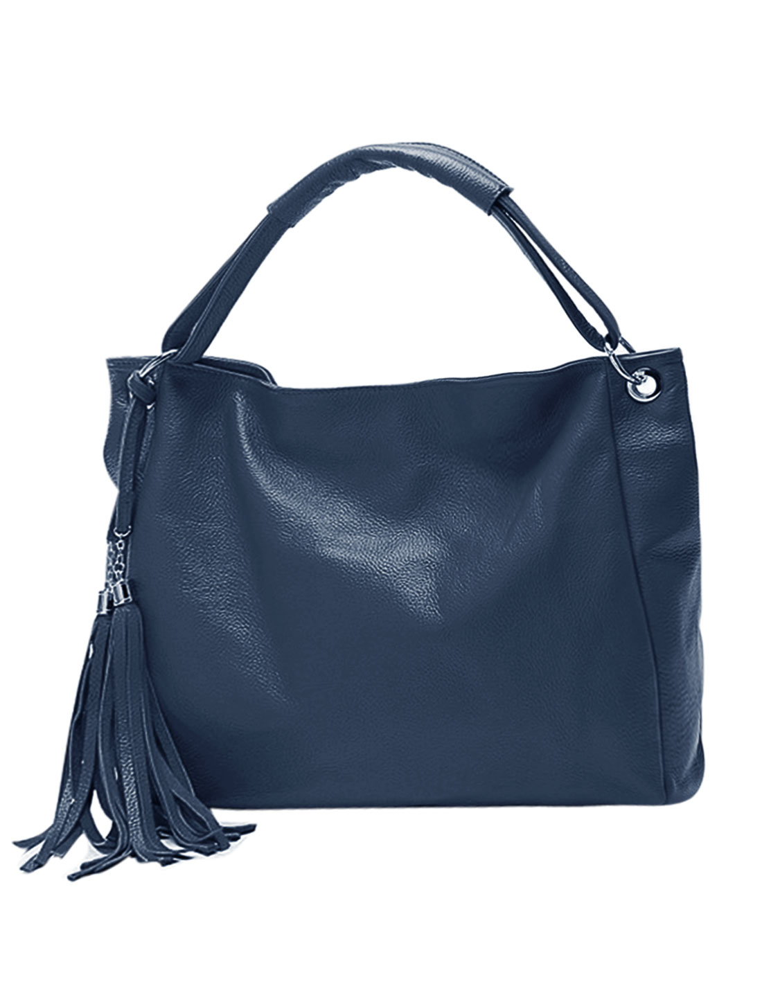 Woman Fringed Detail PU Leather Tote Slouch Hobo Bag Royal Blue