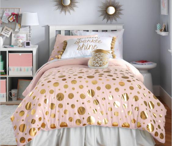 Blush Pink Gold Teen Girls Reversible Full Queen Comforter