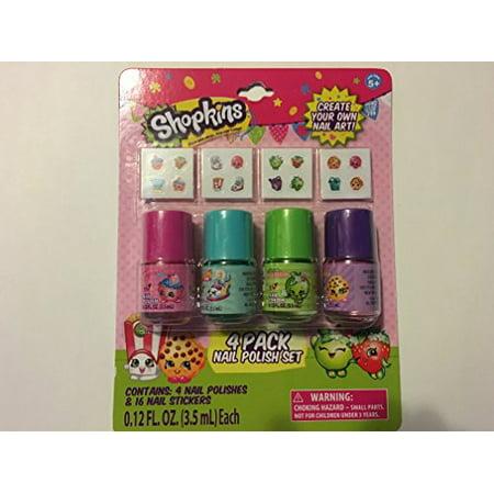 Shopkins 4 Pk Nail Polish W Stickers Walmart