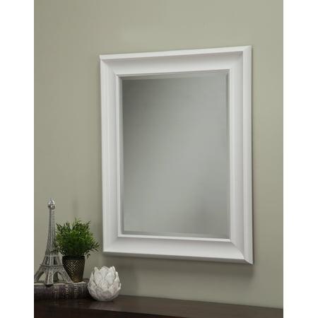 White Wall Beveled Mirror 36
