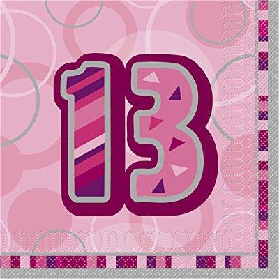 16 Happy 13th Birthday Pink Glitz Party Napkins