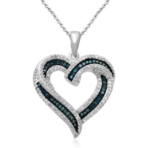 """1/2 Carat T.W. Blue and White Diamond Sterling Silver Heart Pendant, 18"""""""