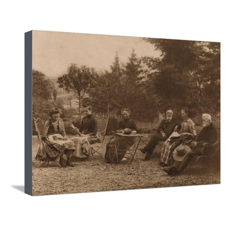 'A group of men and women sat talking by a table', 1937 Stretched Canvas Print Wall Art By Louis