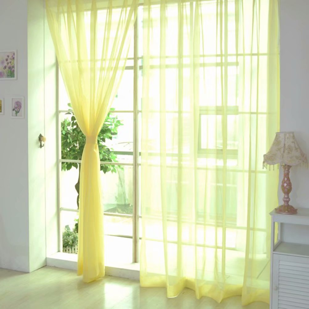 Colors Floral Tulle Sheer Voile Door Window Curtain Drape Panel Valances  For Living Room Bedroom,Yellow