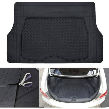 Clear Exactmat Cargo Liner - MotorTrend Heavy-Duty Premium Rubber Cargo Mat Trimmable Trunk Liner for Trucks and Sedans Multi Size