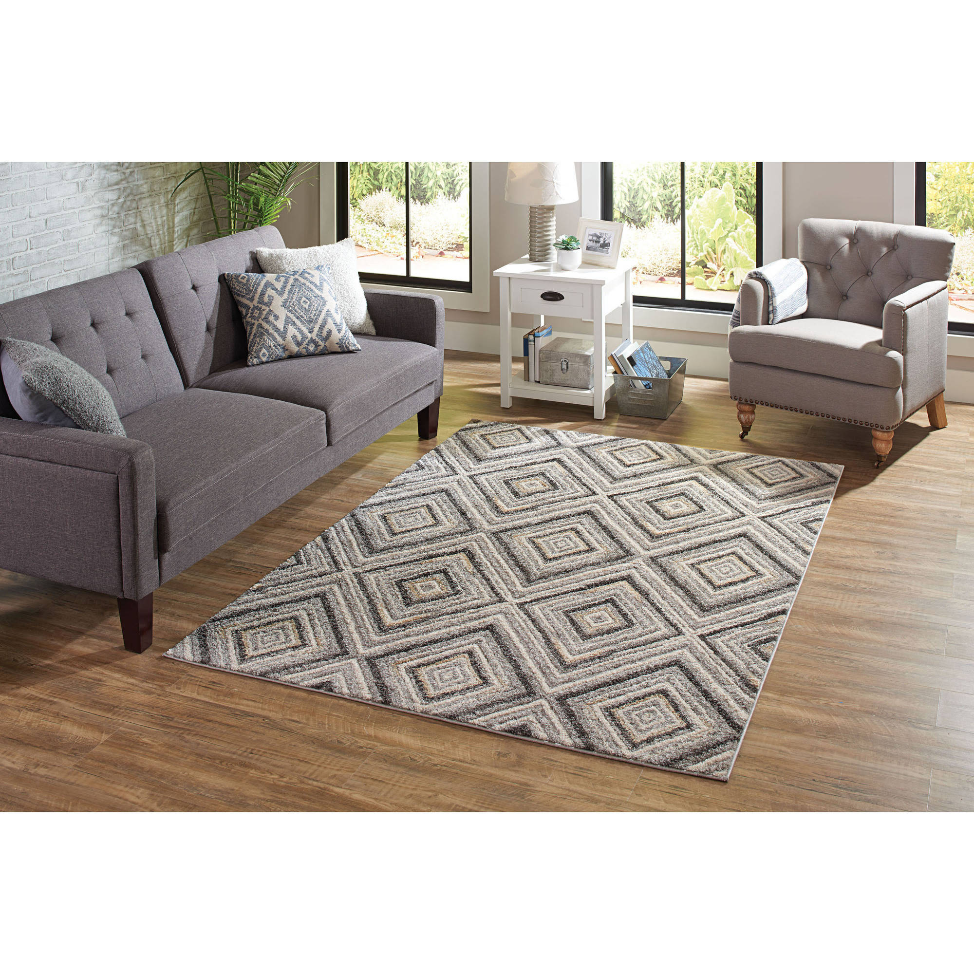 Better Homes And Garden Grey Diamond Polypropylene And Polyester Pile Rug