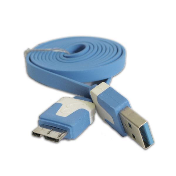 3' Flat USB 3.0 A to USB 3.0 Micro B (10 Pin) Cable - TechCraft - Light Blue - image 1 de 1