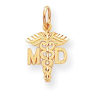 10K Yellow Gold Solid Doctor of Medicine MD Charm - image 2 de 2