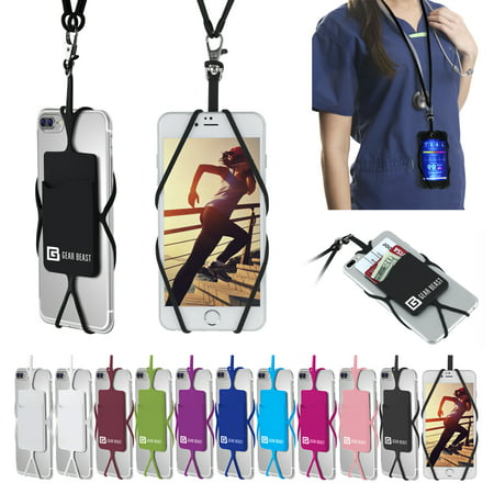 Cell Phone Lanyard Strap, Gear Beast Universal Smartphone Case Cover Holder Lanyard Necklace Wrist Strap With ID Card Slot For iPhone X 8 7 6S 6 Plus Galaxy S9 S8 S7 S6 Edge Note 8 5 and Other Phones