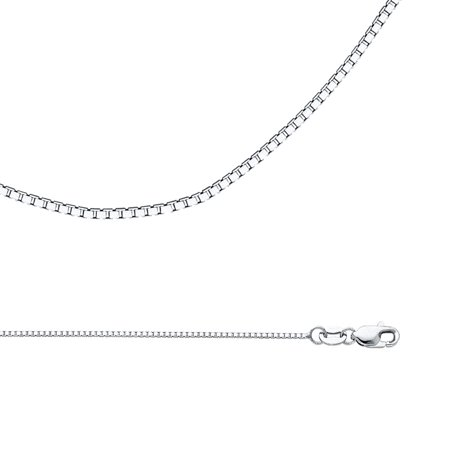 Solid 14k White Gold Chain Box Necklace Plain Square Links Polished Style Genuine, 1 mm - 16,18,20,22,24 inch