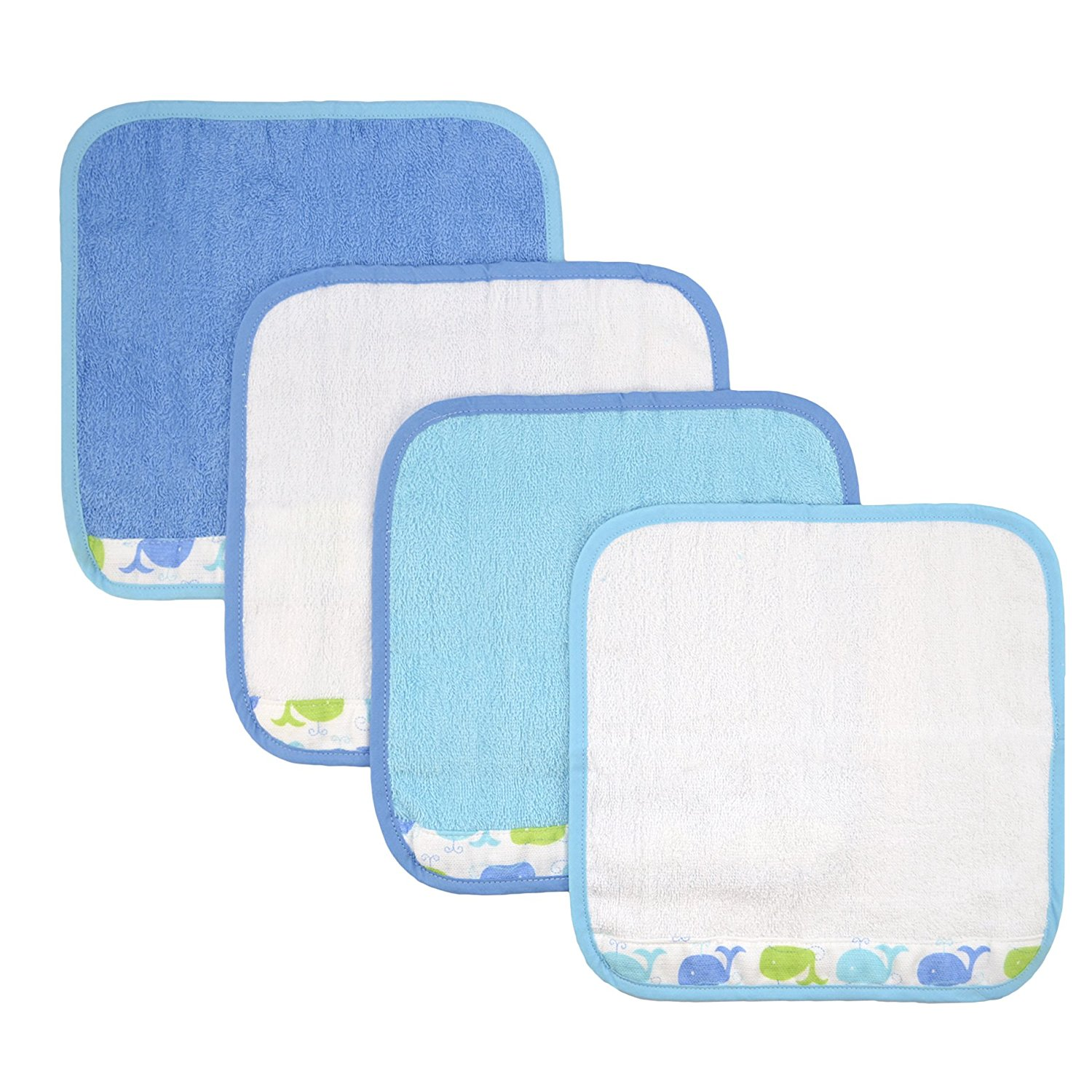Just Bath Sea Brights 4-Pack Woven Washcloth Set, Blue Whales, 100% Cotton By Just Born by Just Born