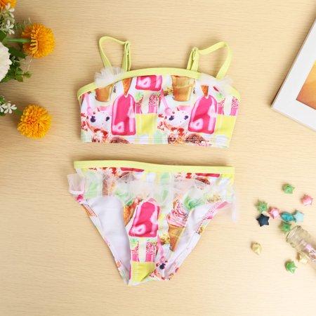 New Fashion Girls Bikini Set Icecream Print Mesh Ruffle Sweet Two-Piece Swimwear Swimsuit Yellow Mesh Ruffle Bikini