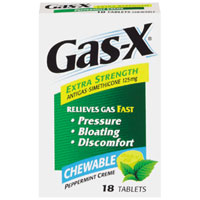 Gas-X Extra Strength Antigas Chewable Tablets, Peppermint Creme, 18 Ea