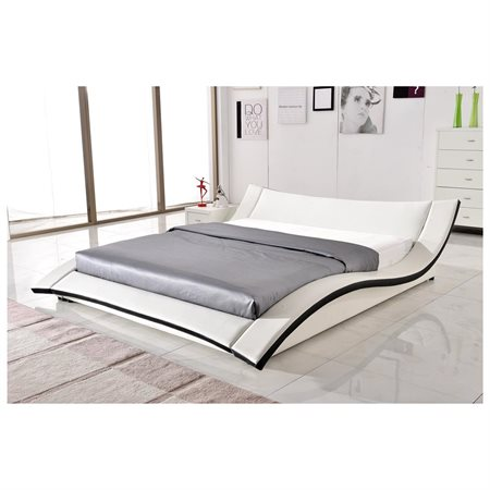 US Pride Furniture Riley Modern Faux Leather Platform Bed, White, Multiple Sizes