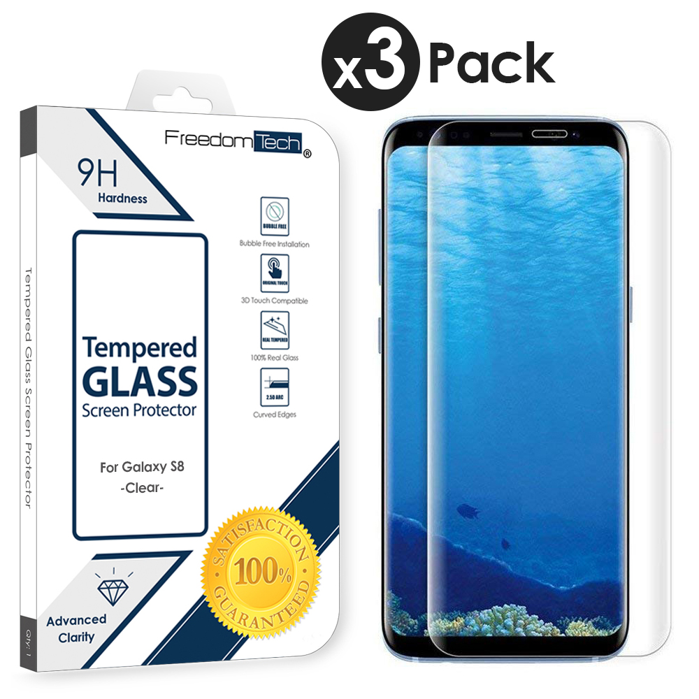 3x Freedomtech Samsung Galaxy S8 Screen Protector Glass Film Full Cover 3D Curved Case Friendly Screen Protector Tempered Glass for Samsung Galaxy S8 Clear