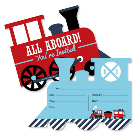 Railroad Party Crossing - Shaped Fill-In Invitations - Steam Train Birthday Party or Baby Shower Invites - 12 Ct - Tea Party Invites