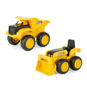 "John Deere Sandbox 6"" Construction Vehicle 2 Pack, Dump Truck & Tractor with Loader, Yellow"