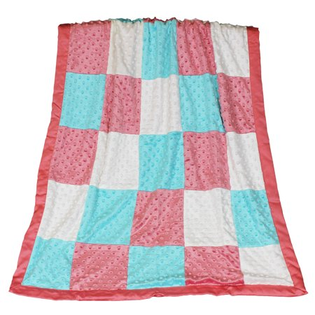 The Peanut Shell Baby Girl Blanket - Coral and Aqua Patchwork - Mila Minky Dot Blanket