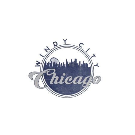 Windy City - Chicago, Illinois - Skyline Seal (Blue) Print Wall Art By Lantern Press - Windy City Coupon