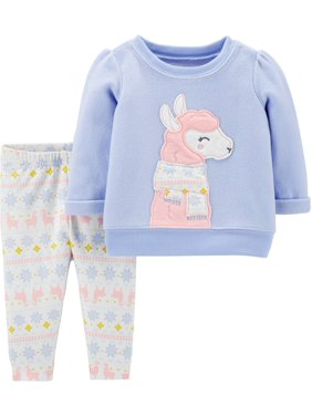 Child Of Mine by Carter's Toddler Girl Fleece Long Sleeve Critter Top & Pants, 2pc Outfit Set