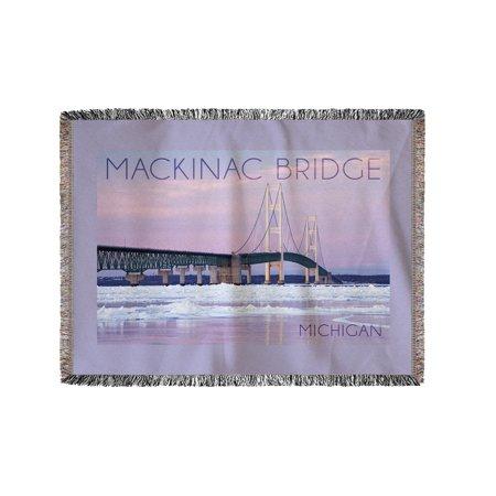 Mackinac Bridge, Michigan - Winter Scene - Lantern Press Photography (60x80 Woven Chenille Yarn Blanket)