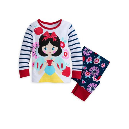 Disney Store Baby Girls Snow White Long Sleeve PJ PALS Pajama Set, White/Blue
