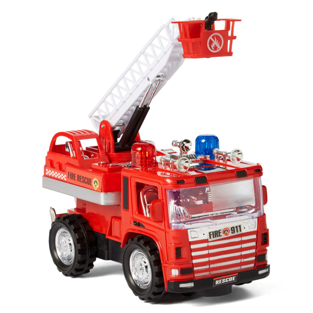 Mini Pumper Fire Truck Rescue Battery Operated Bump and Go Toy Truck w/ Flashing Lights, Sounds