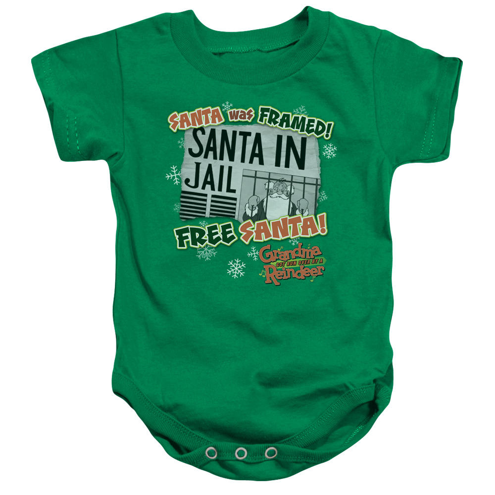 Grandma Got Run Over By A Reindeer Free Santa Unisex Baby Snapsuit