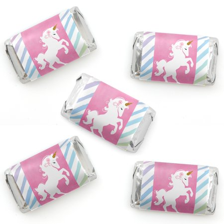 Rainbow Unicorn - Mini Candy Bar Wrapper Stickers - Magical Unicorn Baby Shower or Birthday Party Small Favors - 40 Coun