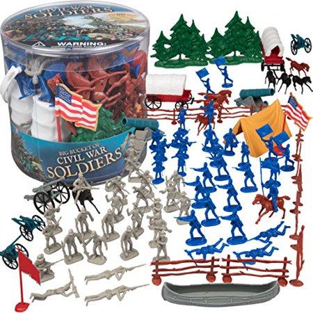 - Civil War Army Men Action Figures - Big Bucket of Civil War Soldiers - Over 100 Piece Set