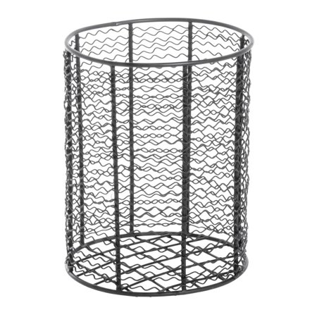 Wire Basket Round Black Steel - 7 1/4 Dia x 9 7/16 H Steel Wire Basket