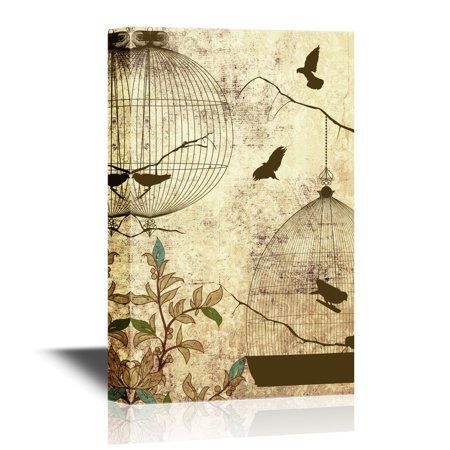 wall26 Canvas Wall Art - Birds and Bird Cage on Abstract Vintage Background - Gallery Wrap Modern Home Decor | Ready to Hang - 32x48 inches