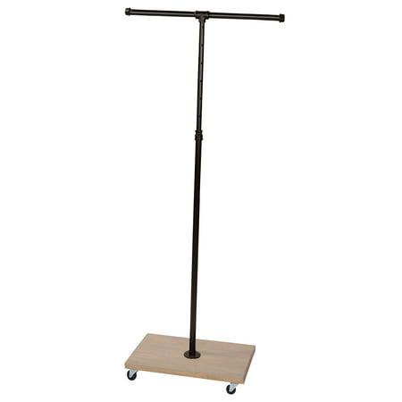 Oak Caramel (Boutique Pipe 2-Way Straight Arm Clothing Rack with Caramel Oak Wood Base)