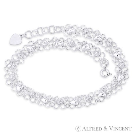 Flower & Puffed Heart Charms on 9mm Open Floral Charm Chain Anklet in .925 Sterling Silver 9 Mm Puffed Heart