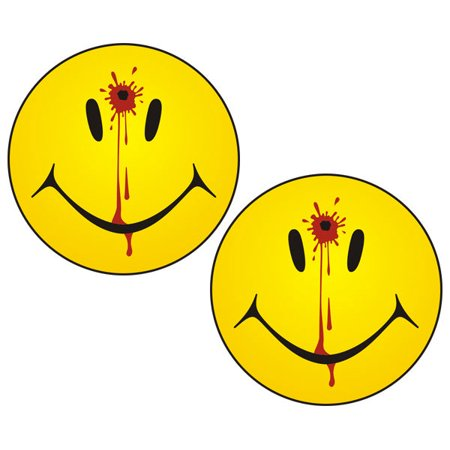 Smiley Face Dead Decal Set 3x3 Funny Bullet Hole Guns Sticker
