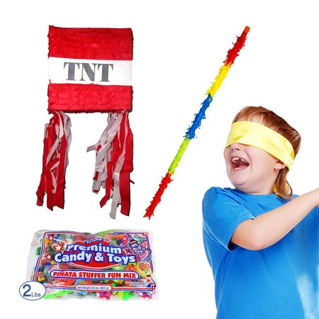 Pinata Stick (Red TNT Pinata Kit for Minecraft Party Including Pinata, Buster Stick, Bandana, 2 lb Toy and Candy)