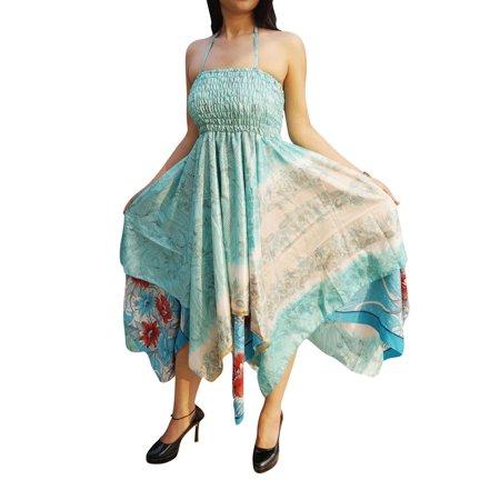 Woven Sari - Mogul Womens Bohemian Sexy Halter Dress Handkerchief Hem Recycled Sari Summer Resort Fashion Sundress S/M