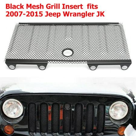 3D Black Mesh Grill Insert Cover Hood blackmeshgrillinsert Lock Hole For 2008-2015 Jeep Wrangler JK