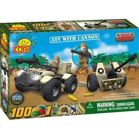 Armor Atv (Small Army ATV with a Cannon, 100 Piece Set, Cobi Brick Figures, Plates and Playsets are Compatible with Other Brand Name Brick and Block Building Figures and.., By COBI)