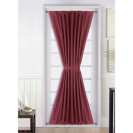 1 Pc  Insulated Heavy Thick French Door Thermal Blackout Rod Pocket Curtain Panel with Tieback 55