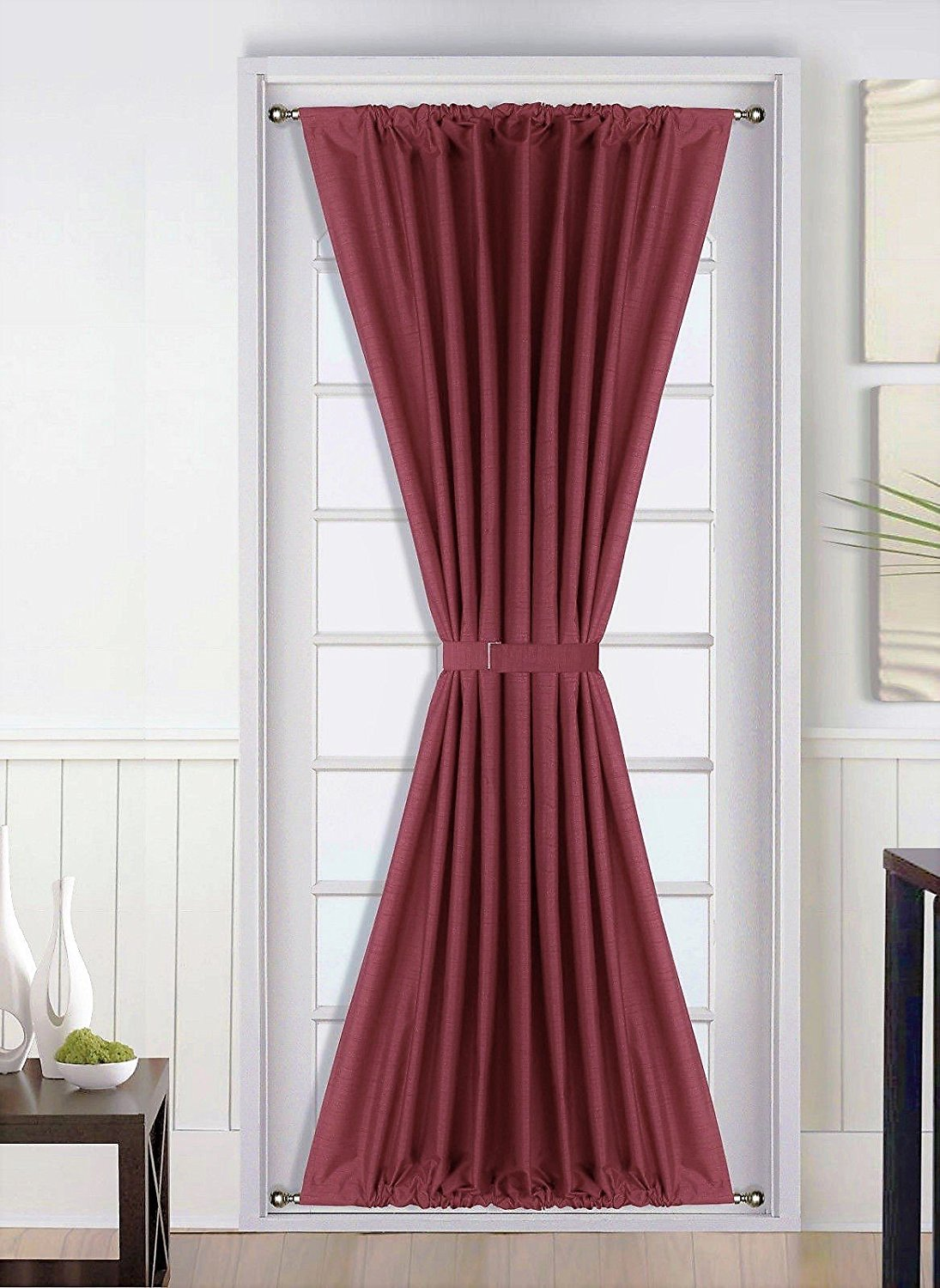 1Pc BURGUNDY Insulated Heavy Thick French Door Thermal Blackout Rod Pocket Curtain Panel with Tieback 55