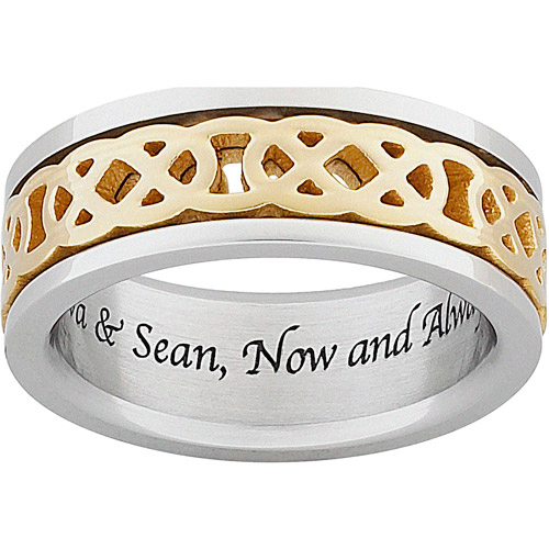 Personalized Celtic Knot Spinner Wedding Band in Titanium
