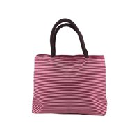 Foldable Stripes Pattern Zip up Design Shopping Bag Handbag