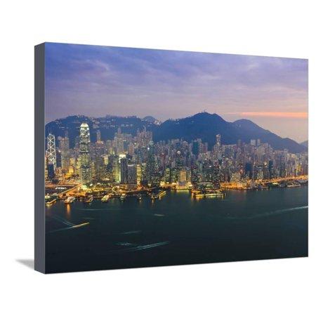 Cityscape of Hong Kong Island Skyline at Sunset, Hong Kong, China, Asia Stretched Canvas Print Wall Art By Amanda Hall