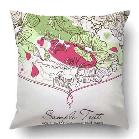 ARTJIA Brown Wedding Beautiful Floral Green Beauty Birthday Bud Celebrate Celebration Clipart Pillowcase 18x18