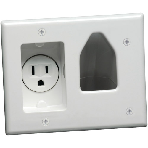 Datacomm Electronics 45-0021-WH 2-Gang Recessed Low-Voltage Cable Plate with Recessed Power, White